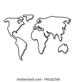 World map black line. Outline minimal style design. Vector illustration flat. Isolated on white background. Simple form continent.