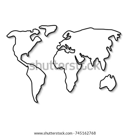 World Map Black Line Outline Minimal Stock Vector Royalty Free