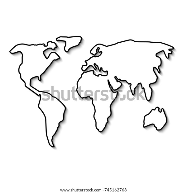 World Map Black Line Outline Minimal Stock Vector (Royalty ...Simple World Map Outline Black And White