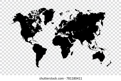 World map - Black map of world on transparent background. Vector Illustration EPS10.