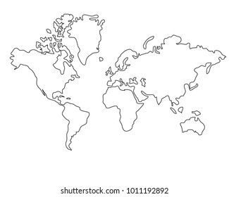 World Map, Black And White