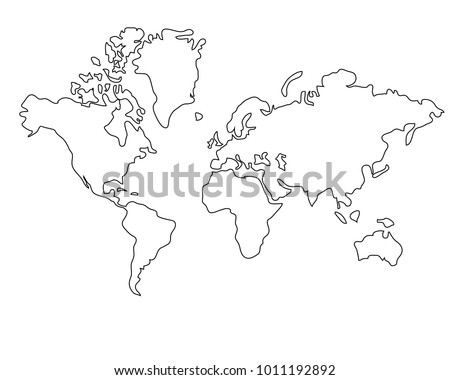 World Map Clip Art Black And White.World Map Black White Stock Vector Royalty Free 1011192892