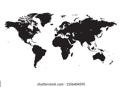World map black and white isolated vector on white background