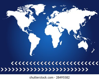 world map with blue background and arrows - vector image
