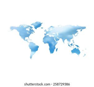 World Map With Blue Cloud Sky On A White Background