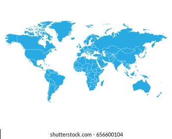 World map in blue color on white background. High detail blank political map. Vector illustration with labeled compound path of each country.