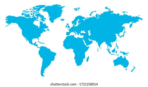 World map. Blue earth isolated on white background. Continents on the globe. Vector Illustration.