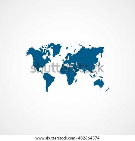 World map blue flat icon on stock vector royalty free 482664574 world map blue flat icon on white background gumiabroncs Gallery