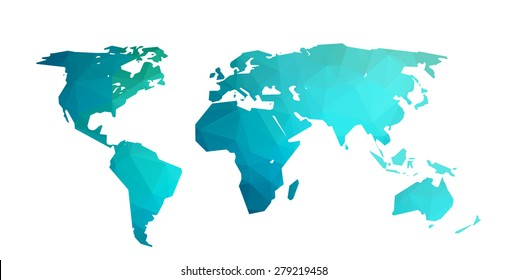 World map blue vector illustration in polygonal style on white background