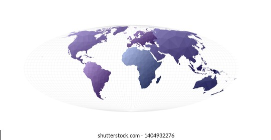 World map. Bromley projection. Admirable vector illustration.