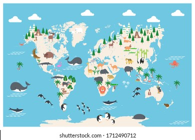 The world map with cartoon animals for kids, nature, discovery, ocean. vector Illustration.