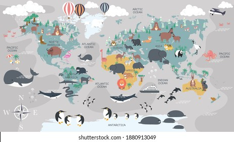 The world map with cartoon animals for kids, nature, discovery and continent name, ocean name, countries name. vector Illustration. - Shutterstock ID 1880913049