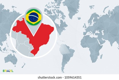 World map magnified brazil brazil flag stock vector 262160285 world map centered on america with magnified brazil blue flag and map of brazil gumiabroncs Choice Image