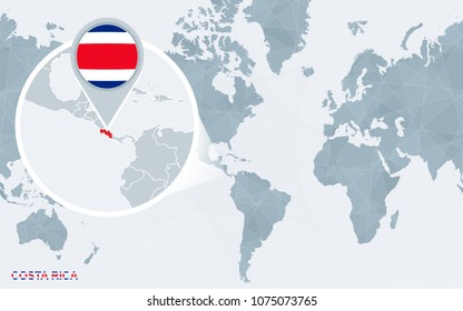 Zoom on costa rica map flag stock illustration 349679129 shutterstock world map centered on america with magnified costa rica blue flag and map of costa gumiabroncs Image collections