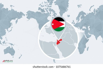 Jordan map stock vectors images vector art shutterstock world map centered on america with magnified jordan blue flag and map of jordan gumiabroncs Images
