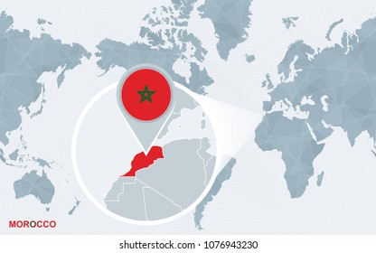 World map centered on America with magnified Morocco. Blue flag and map of Morocco. Abstract vector illustration.