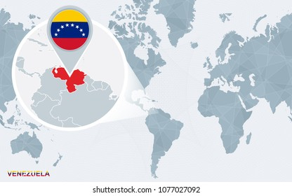 World map magnified venezuela venezuela flag stock vector 262815437 world map centered on america with magnified venezuela blue flag and map of venezuela gumiabroncs Gallery