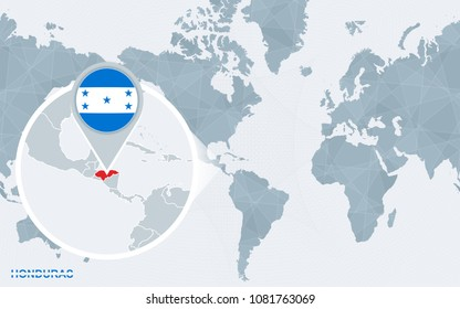 Honduras point map imgenes pagas y sin cargo y vectores en stock world map centered on america with magnified honduras blue flag and map of honduras gumiabroncs Images