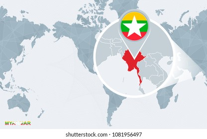 World map centered on America with magnified Myanmar. Blue flag and map of Myanmar. Abstract vector illustration.