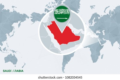 Abstract Blue World Map Magnified Saudi Stock Vector (Royalty Free ...