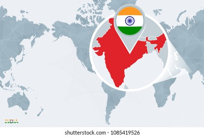 India map vector images stock photos vectors shutterstock world map centered on america with magnified india blue flag and map of india gumiabroncs Image collections