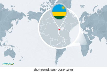 World map centered on America with magnified Rwanda. Blue flag and map of Rwanda. Abstract vector illustration.