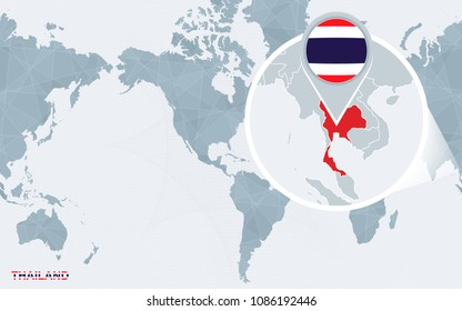 Thailand map flag circle map thailand stock vector 380012809 world map centered on america with magnified thailand blue flag and map of thailand gumiabroncs Images