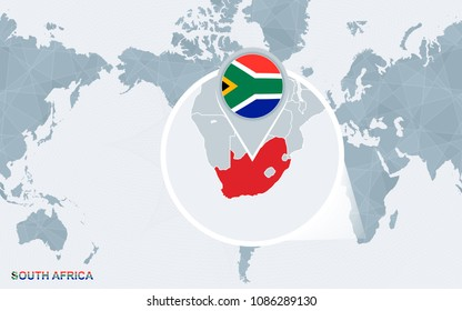 World map centered on America with magnified South Africa. Blue flag and map of South Africa. Abstract vector illustration.
