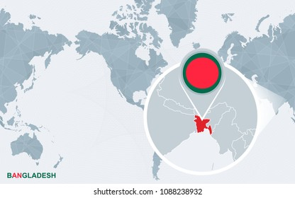 World map magnifying on bangladesh blue stock vector 421334917 world map centered on america with magnified bangladesh blue flag and map of bangladesh gumiabroncs Gallery