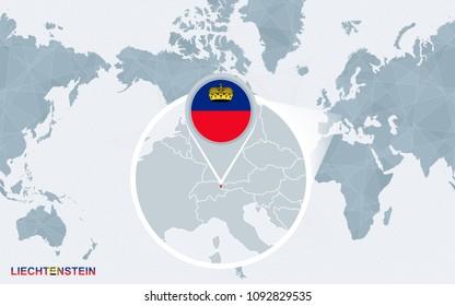 World map centered on America with magnified Liechtenstein. Blue flag and map of Liechtenstein. Abstract vector illustration.