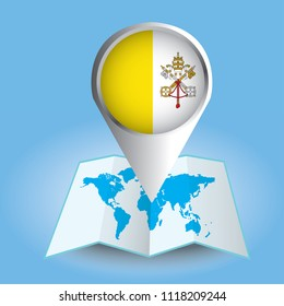 Map of vatican city images stock photos vectors shutterstock world map centered on europe with magnified vatican city blue flag and map of vatican gumiabroncs Gallery