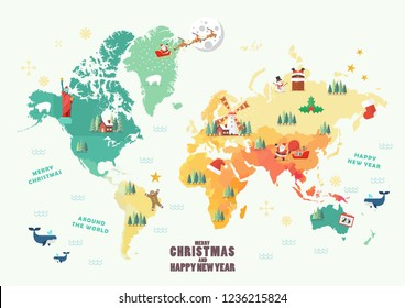World Map with Christmas elements. Vector illustration