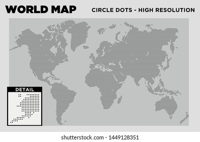 World Map Circle Dots high resolution