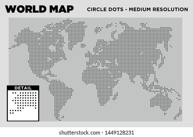 World Map Circle Dots medium resolution
