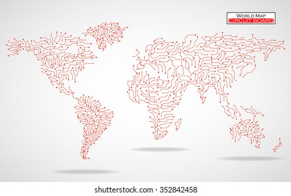 World Map. Circuit board. Technology background. Vector illustration. Eps 10