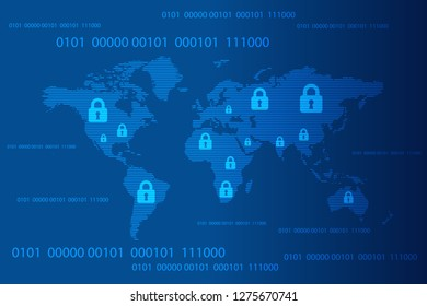 World map with closed pad lock and binary code background, Cyber Security Concept. Global Security Background. Vector Illustration