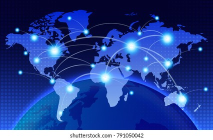 World map with coherent nodes along the lines. Communications. social network. information technology