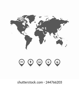 World Map - Collection of map pointers with world map. Vector illustration EPS10.
