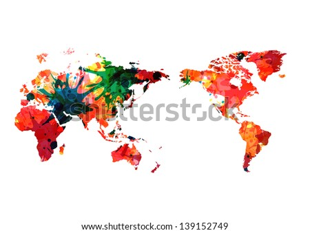 World Map Color Compass Vector Stock Vector Royalty Free 139152749
