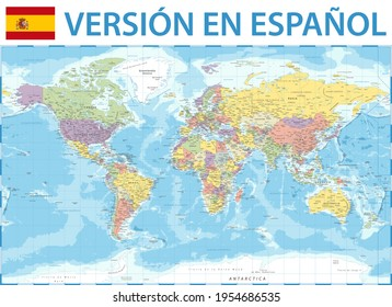 World Map Color Political - Spanish Language Version - Vector Detailed Illustration