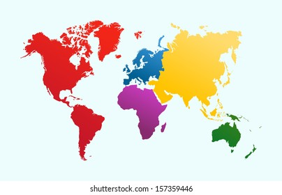 World map with colorful continents Atlas. EPS10 vector file organized in layers for easy editing.