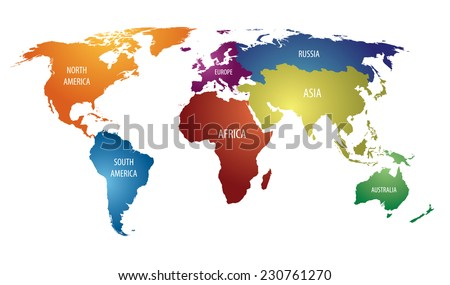 World map colorful continents russia atlas stock vector royalty world map with colorful continents and russia atlas vector eps10 gumiabroncs Image collections