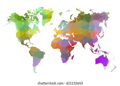 World map colorful low poly. vector illustration eps 10.