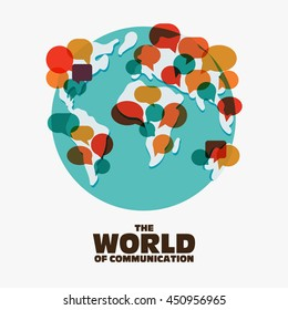 World map with colorful speech bubbles. Travel, translating, language interpreter and communication vector concept illustration