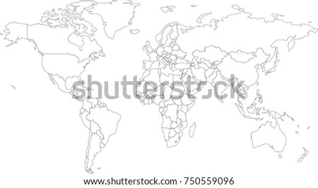 World Map Coloring Book Outlines Stock Vector Royalty Free