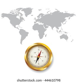 World map with Compass info graphic. used for work flow layout, diagram, banner, number options, graphic or web design.