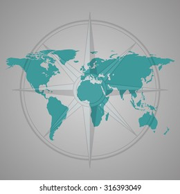 World map with compass rose