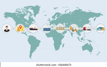 World map concept of cargo logistics delivery shipping service infographics. international business import and export illustration.