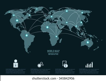 World map and connection, vector infographic