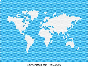 world map consisting of triangles